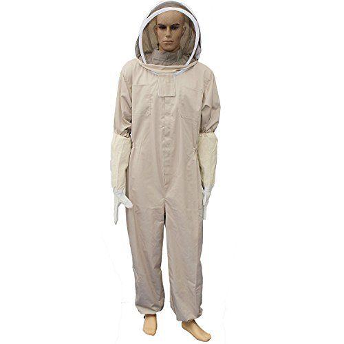 Bee Suit , LOPEZ Cotton Beekeeper Bee Suit Smock Clothing + Beekeeping Protective Goatskin Gloves - S