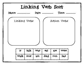 Students cut apart the linking verbs and action verbs to sort them into categories. This activity is part of my week long activity unit on linking verbs! The whole packet is in the works and will be uploaded soon!