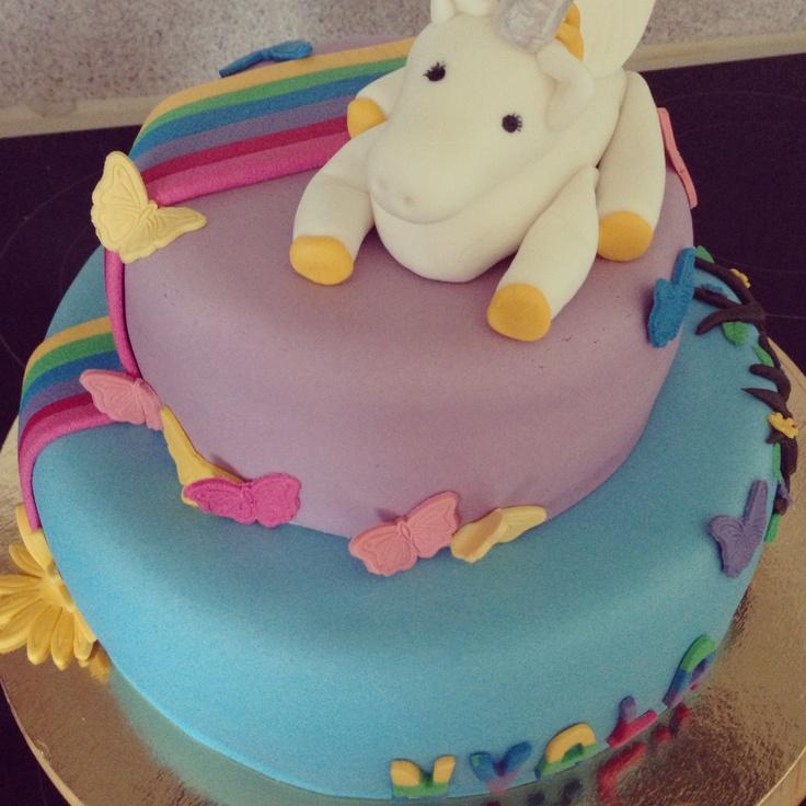 Unicorn and rainbow cake