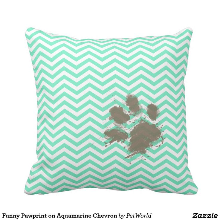 Funny Pawprint on Aquamarine Chevron