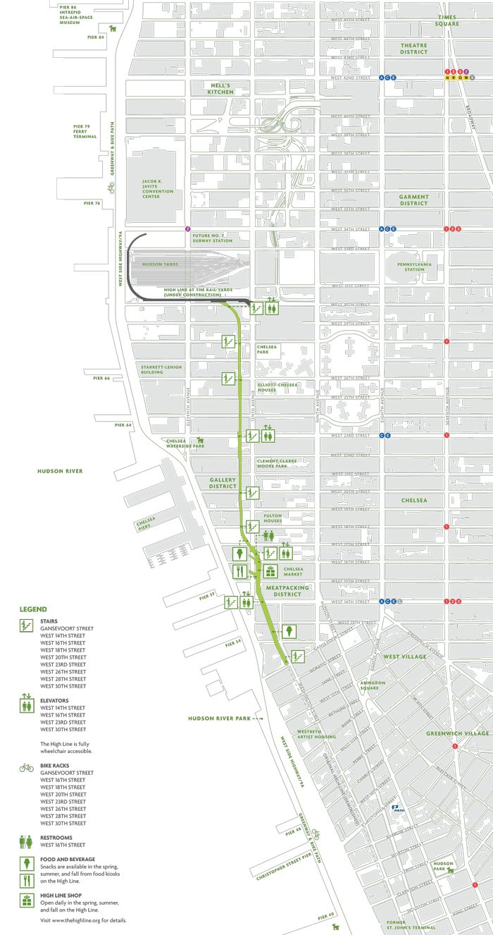 Map of the High Line, an urban park in NYC | by Friends of the High Line