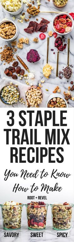 Looking forHealthy Homemade Trail Mix Recipes? Look no further! Here are three simple and easy DIY trail mix recipes, whether you want something sweet, spicy or for kids. These clean eating trail mix ideas are full of protein (hello energy boost!) and perfect for school snacks, road trips or hikes (nut free versions available!). Pack them in mason jars for cute and cheap packaging!