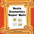 30-question assessment evaluates  knowledge of basic economics concepts as well as ability to apply them to hypothetical situations. Concepts covered are choices; price; scarcity; allocation; command economy; first-come-first-served; rationing; lottery; market economy; natural, capital, & human resources; specialization; interdependency; trade; opportunity cost; competition; monopoly; production; division of labor; starting a business; law of supply; law of demand; and creating line graphs.