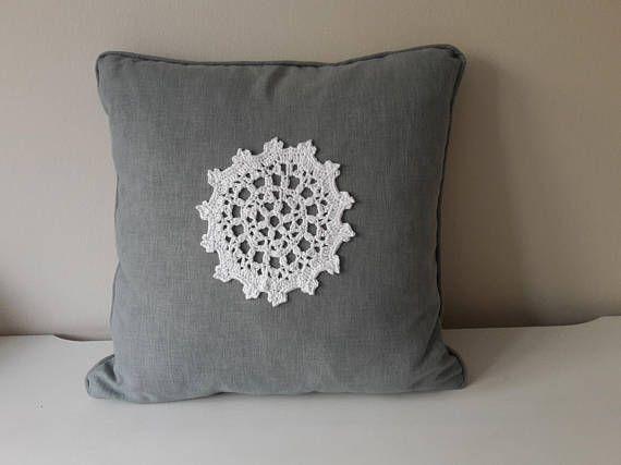 Greyish Blue Decorative Pillow Pillow with Crochet Applique