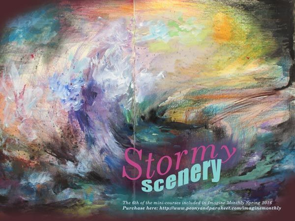 Create internal seascapes, a stormy scenery for your art journal! Sign up for Imagine Monthly to access the art journaling mini-course.