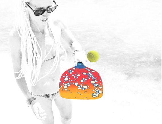 BEACH TENNIS RACKET Bubbles by LiliGabbiano on Etsy