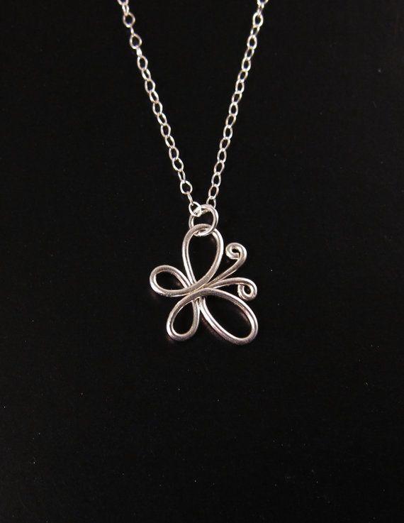 Sterling Silver Butterfly Necklace Silver Wire by PurplePoemCraft