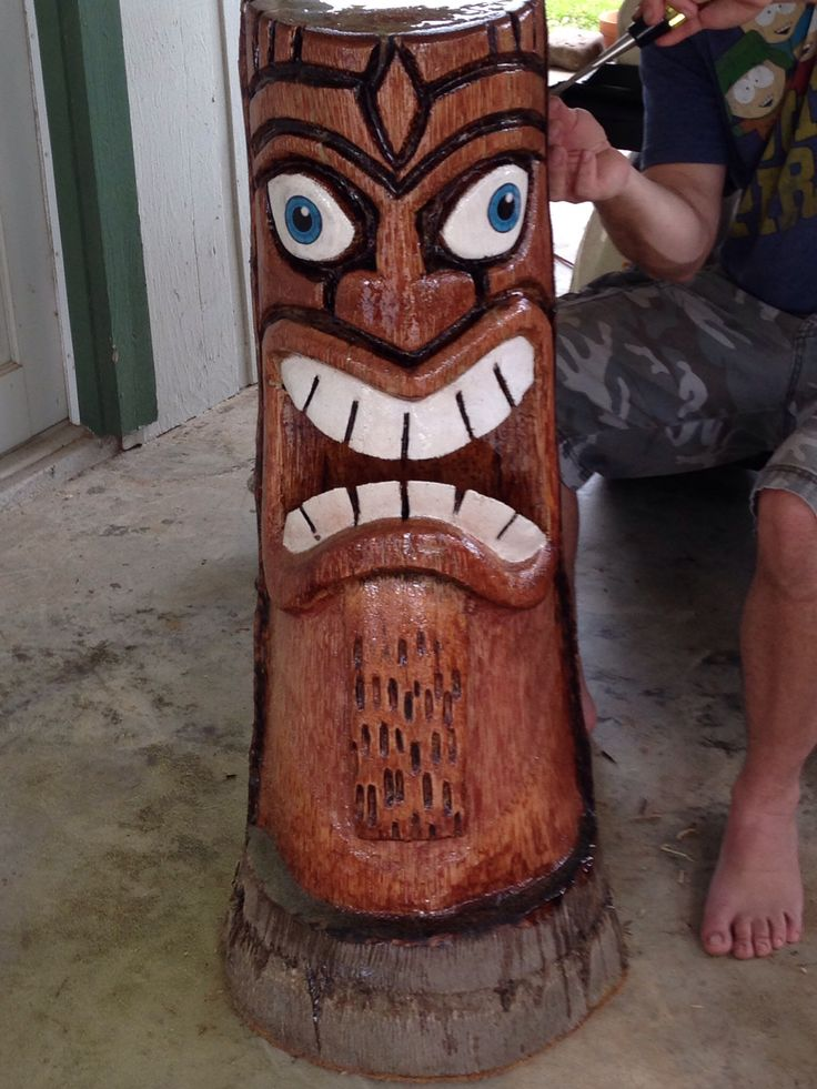 Tiki Man Carved Out Of Queen Palm Tree Trunk By My Husband