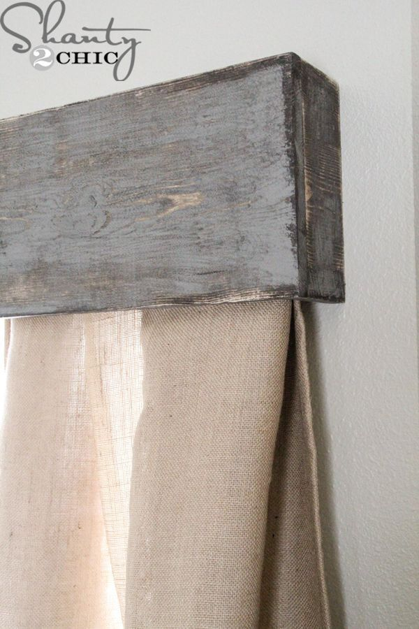 Barn wood header over curtain rod