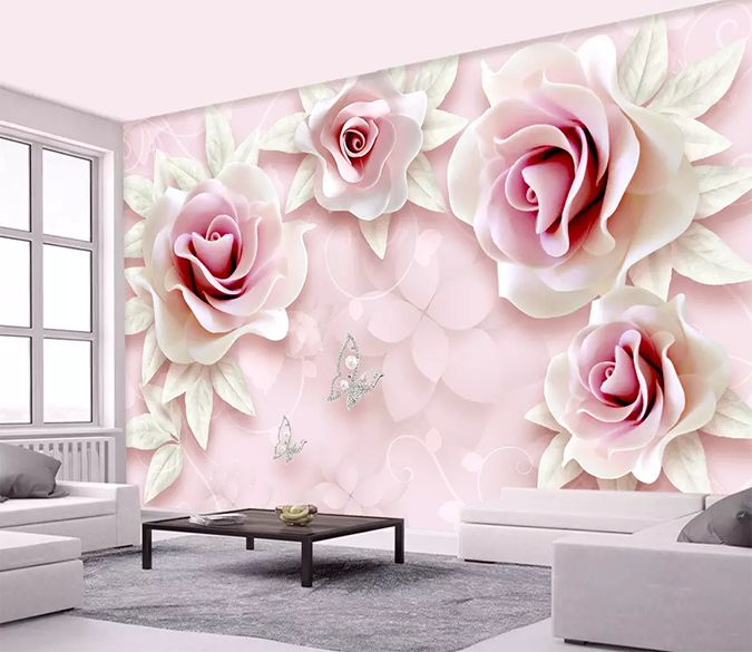 Wallpapers Custom 3d Wallpaper Mural Living Room Sofa Background Beautiful Pink Silk Paper Carving Flower Pearl Mural De Parede 3d Fresco Reliable Performance Painting Supplies & Wall Treatments
