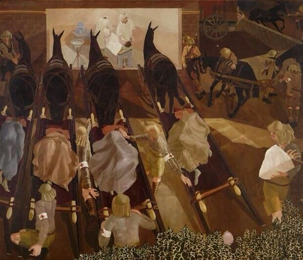 Wounded arriving at a dressing station - #WW1 art by the great Stanley Spencer > @Stanley Spencer Gallery #TheCrimsonField pic.twitter.com/fnfpIBfhhe