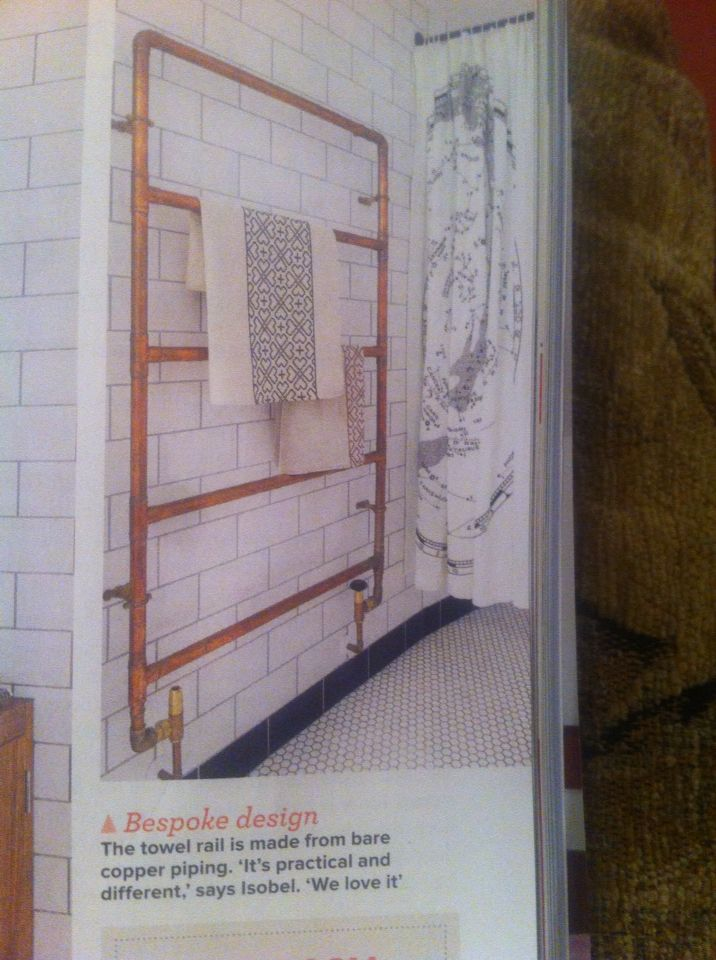 Copper towel rail