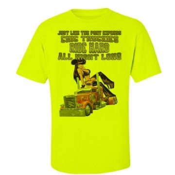 Chic Truckies Ride Hard All Night Long Hi Vis Work T-Shirt $A47.50 Back print your choice of name & number with our logo, or simply our logo. Custom made to customer preference. Available in Yellow, Orange & Pink http://www.wildsteel.com.au/just-like-the-pony-express-chic-truckies-ride-hard-all-night-long-hi-vis/