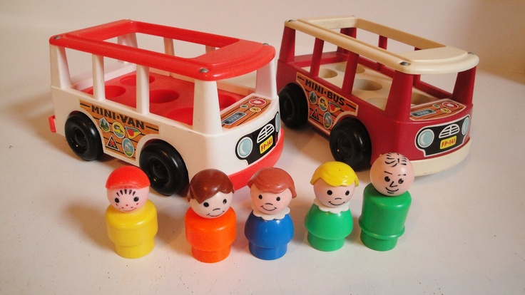 Vintage Fisher Price Little People Mini Bus Van Red 1960s. Mooie herinneringen aan eigen kindertijd. Hopelijk kom ik ooit weer in het bezit van zo'n bus.