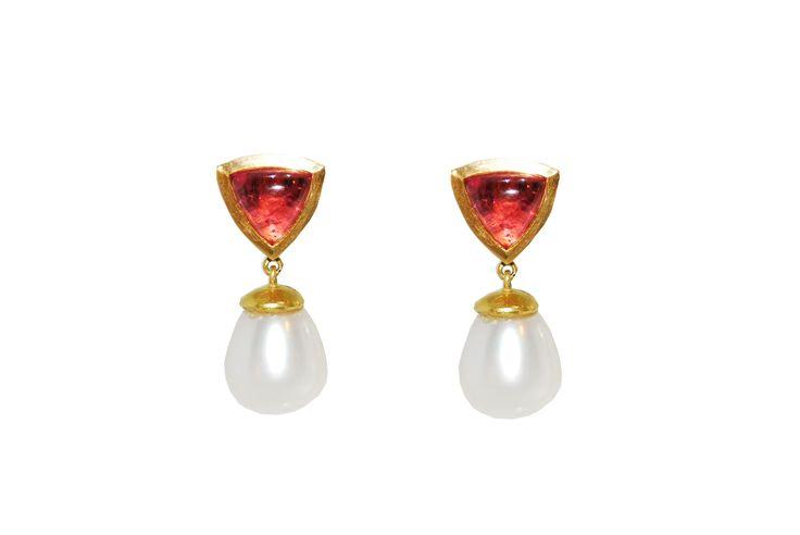 pearl and toumaline earring studs