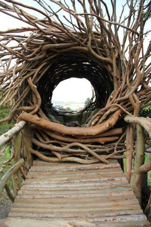 Bridge leading to human nest. Inspiration. | land art, landscape art, environmental art terratrellis.com