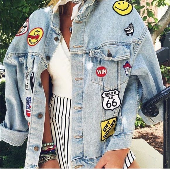 LF/Furst of a Kind Vintage Patches Denim Jacket NWT. Super cool patches on light washed denim. One size fits best on a M. More oversized on a small, might be hard to close on a L. AMAZING piece! No trades LF Jackets & Coats Jean Jackets