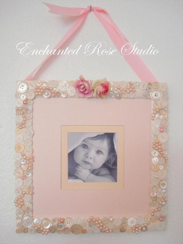 photo frame vintage buttons, glass pearls and topped with vintage adderley posy roses