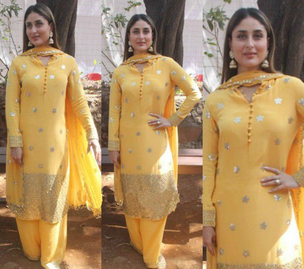Kareena Kapoor in Gorgeous Yellow Salwar Suit by Anushka Khanna