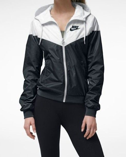 Jacket: nike rain jacket, black and white - Wheretoget