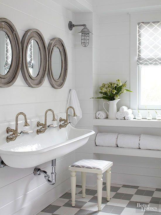 Farmhouse Style Bathroom - a farmhouse style sink, checkerboard flooring and planked walls + 5 Farmhouse Style Favorites - via BHG