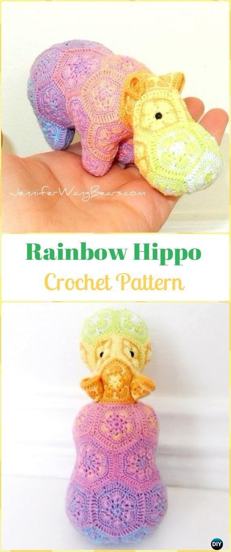 Crochet Amigurumi African Flower Rainbow Hippo Pattern - Amigurumi Crochet Hippo Toy Softies Patterns