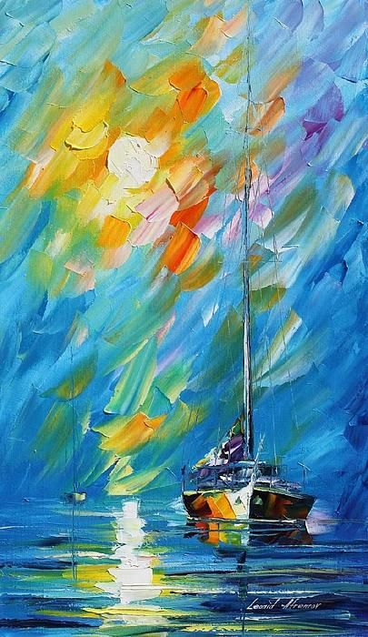 Caribe Sunrise: Leonid Afremov I absolutely love this oil painting! The brush strokes are so unique and add so much dimension!