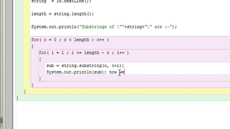 Java program to find out all substrings of a string using for loop