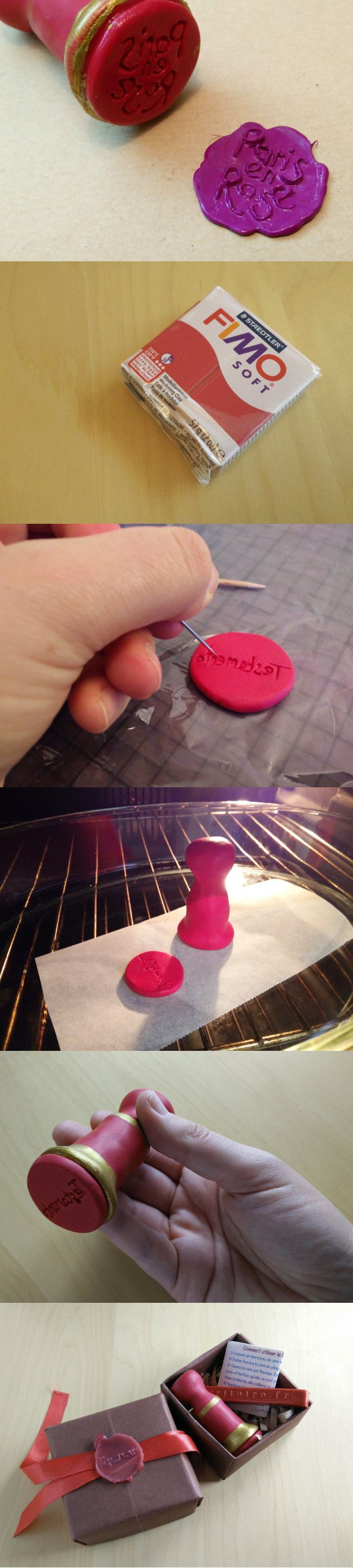 Make this fimo wax seal stamp to finish your letters with your own personalised seal