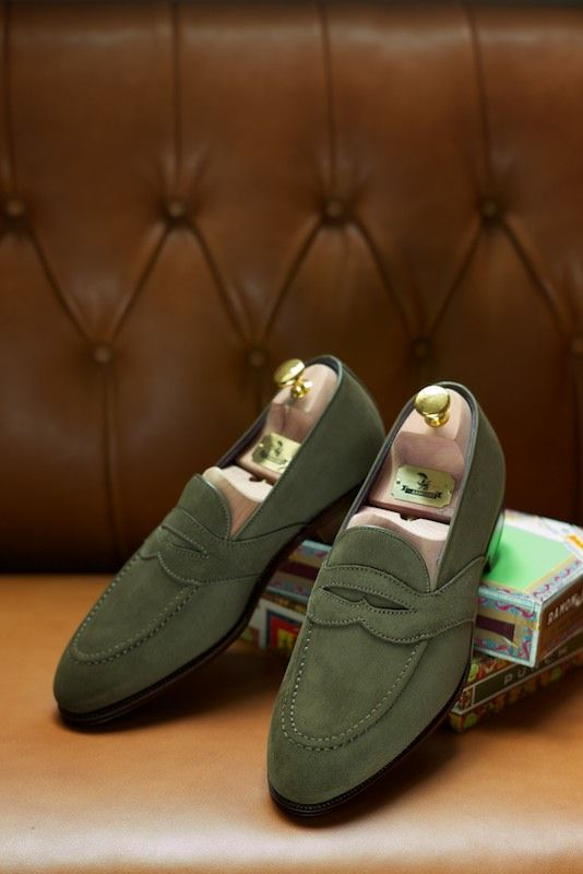 Green The Uetam Full Strap Loafer in Green Suede Carmina for The Armoury