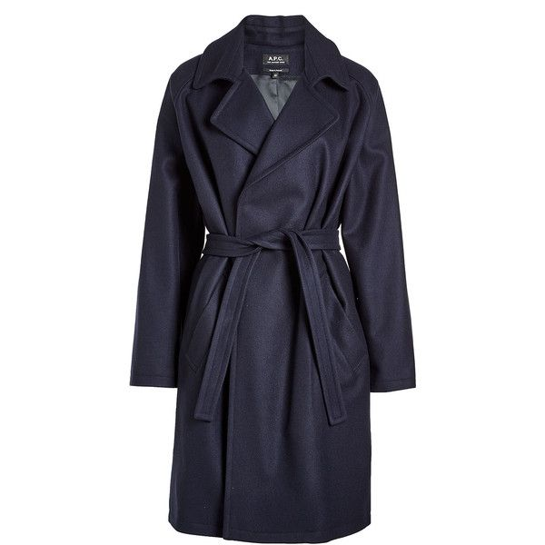 A.P.C. Belted Coat ($500) ❤ liked on Polyvore featuring outerwear, coats, blue, blue coat, belt coat, knee length coat, belted coats and coat with belt