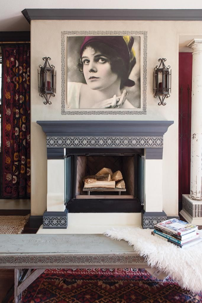 Fireplace with a Chalk Paint® mix of Graphite and French Linen and stenciled using Old White | Orange Coast magazine feature on Annie Sloan Stockist Peinture Studios in Costa Mesa, CA