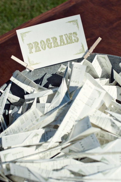 Funny. Wedding programs are pre-folded into paper airplanes! (the couple met on an airplane :)
