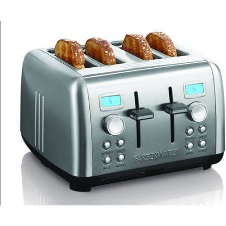 Farberware Digital 4 Slice Stainless Steel Toaster, Silver