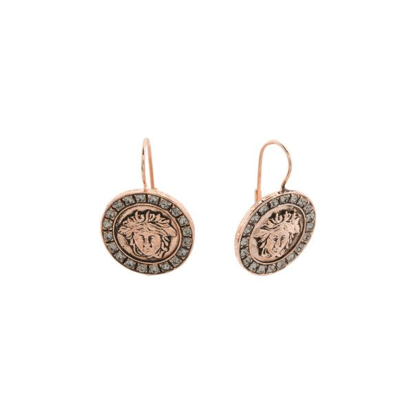 Made In Italy Rose Gold Plated Bronze Cubic Zirconia Coin Earrings ($30) ❤ liked on Polyvore featuring jewelry, earrings, coin earrings, cubic zirconia jewelry, bronze earrings, cz earrings and cz jewellery