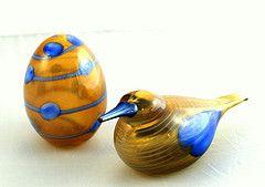 Oiva Toikka - Blue Scaup Duck and Egg - 2004 annual bird & egg