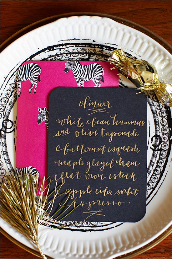 New Year's Eve dinner menu // love the backing!