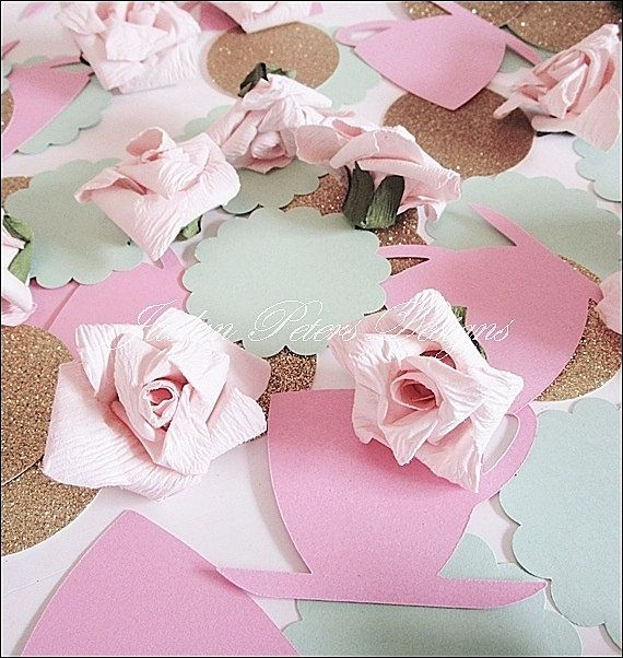 teaparty decorations large table confetti in mint gold and pink by