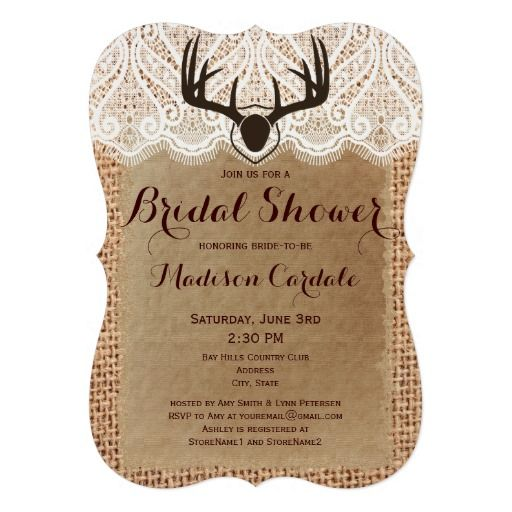Rustic Burlap Deer Antlers Bridal Shower Invitations for a hunting theme wedding #countrywedding #wedding