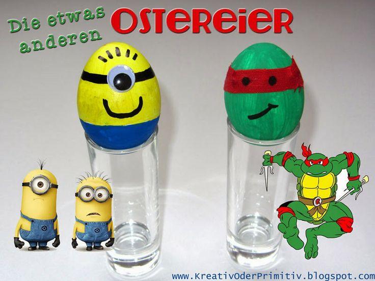 ostereier eier bemalen acryl lusitg humor anders kreativ minion kinder figur turtle. Black Bedroom Furniture Sets. Home Design Ideas