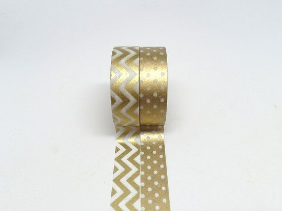 Gold Chevron and Gold Polka Dots Washi Tape Set by chickydoddle