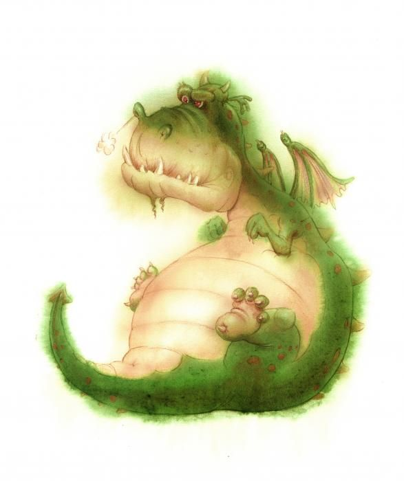Grumpy Dragon Painting  by Andy Catling