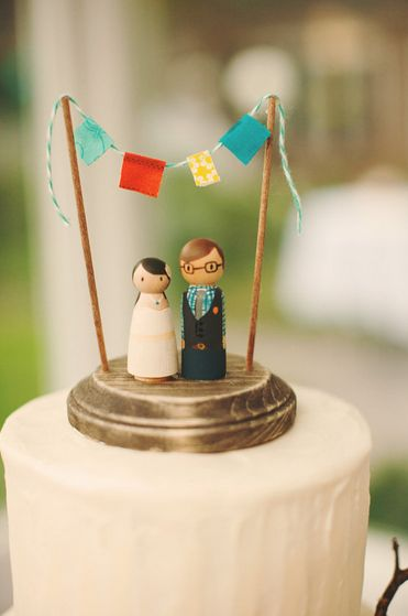 Wooden Hand Painted Cake Topper