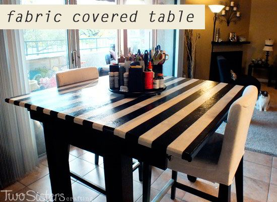 Fabric Covered Table for Crafting by Two Sisters Crafting
