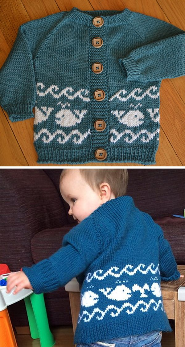"""Free Knitting Pattern for Baby Whales Cardigan - The """"Save the baby whales!"""" sweater is sized for babies, toddlers, and young children, and features whales and waves in stranded colorwork. Baby sizes:1-3, 3-6, 6-9, 9-12 months Toddler sizes: 12-18, 18-24 months, 2-3 years. Runs big! Designed by Sargantana Formenterenca. Sport weight. Pictured projects by raleuen and MillieMartha."""