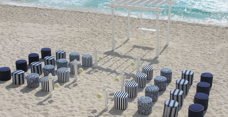 Nautical themed beach wedding ceremony at Sun Palace in Cancun, Mexico | Palace Resorts Weddings ®