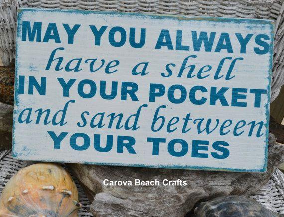 Beach Decor, Beach Sign, Beach Theme, Coastal Decor, Nautical Sign, Beach House, May You Always Have Shell In Pocket, Hand Painted on Etsy, $30.00