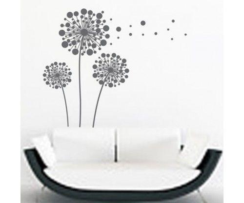 Öntapadó design pöttyös gyermekláncfű falmatrica - szürke színben nappaliba, előszobába, szekrényre, üvegre