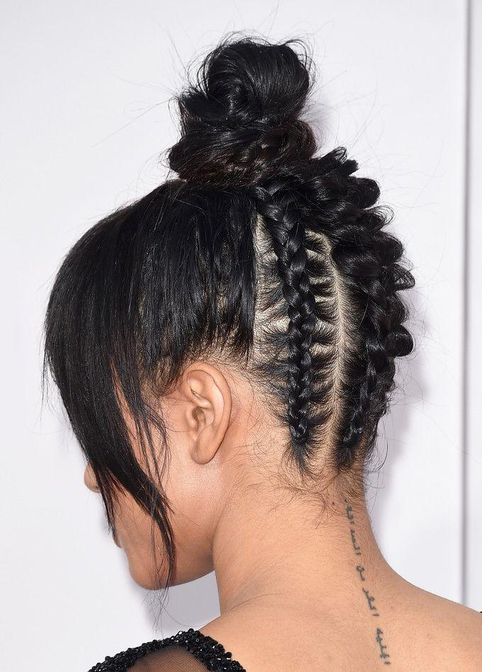 Trending Hairstyle Bangs Top Knot Bun African Back