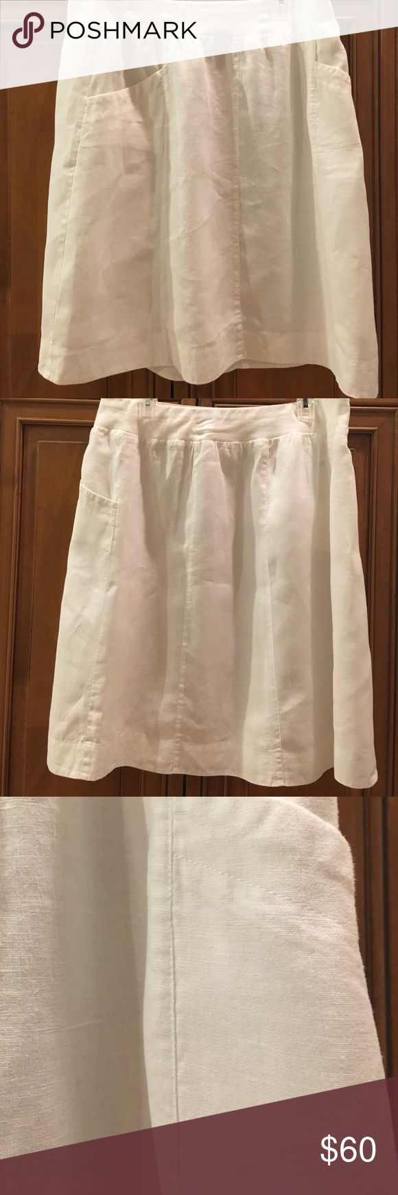 """Eileen Fisher Organic White Linen Knee lgth Skirt BEAUTIFUL NEAR Mint $248 Eileen Fisher 100% Organic White Linen Knee length Straight Skirt. Professionally dry-cleaned. Left tag on to show near new condition. Size Large Waist=36"""" ( unstretched) Hip=50"""" (unstretched) Waist to bottom of skirt: 23.5""""  Eileen Fisher 100% Organic Linen skirt with vertical seams for slimming look. Side POCKETS. Falls beautifully from hip to hem. Knee length. Pull-on waist. Waistband is 90% organic Cotton and 10%…"""